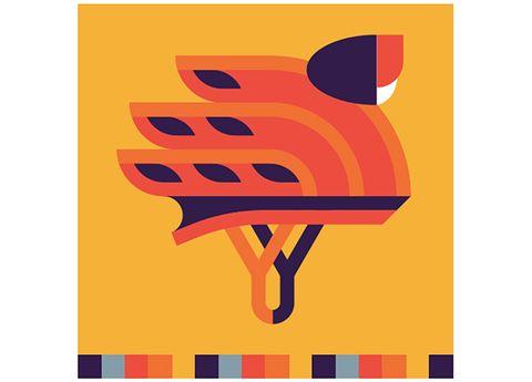 Orange, Graphics, Symbol, Illustration, Bird, Graphic design, Clip art, Drawing,