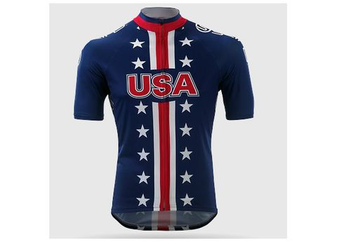 Blue, Product, Jersey, Sleeve, Sportswear, Collar, Text, White, Red, Uniform,