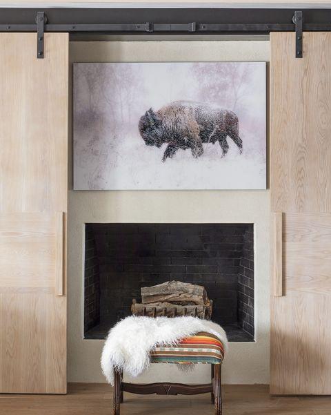 sliding barn doors fireplace decor