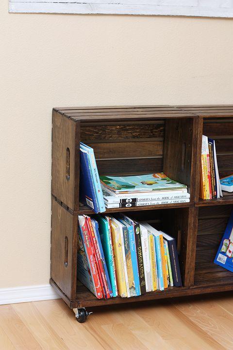 sliding crate diy bookshelf
