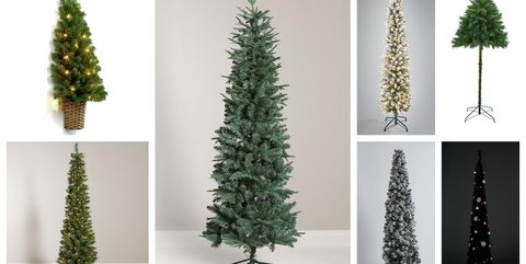 slim christmas trees - Pencil Christmas Tree Decorating Ideas