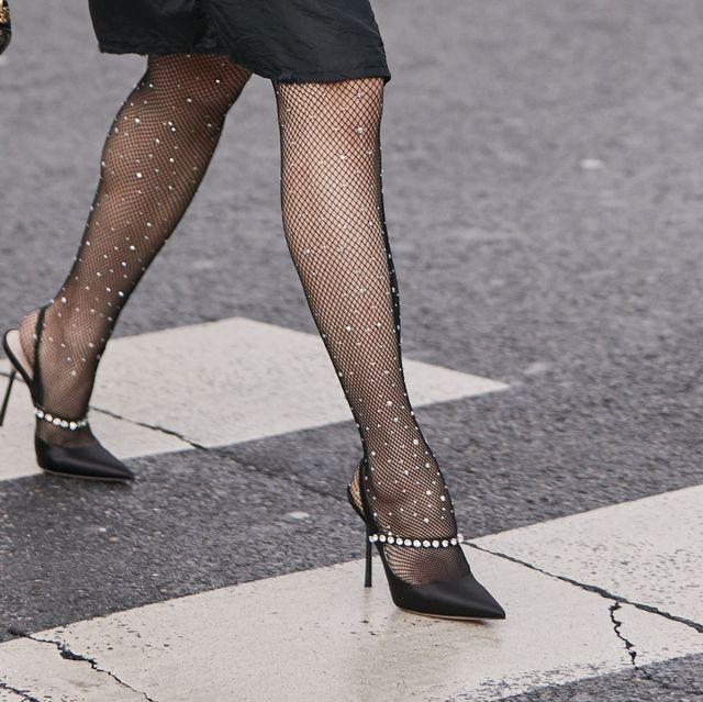 Leg, Human leg, Tights, Black, High heels, Street fashion, Thigh, Footwear, Ankle, Fashion,