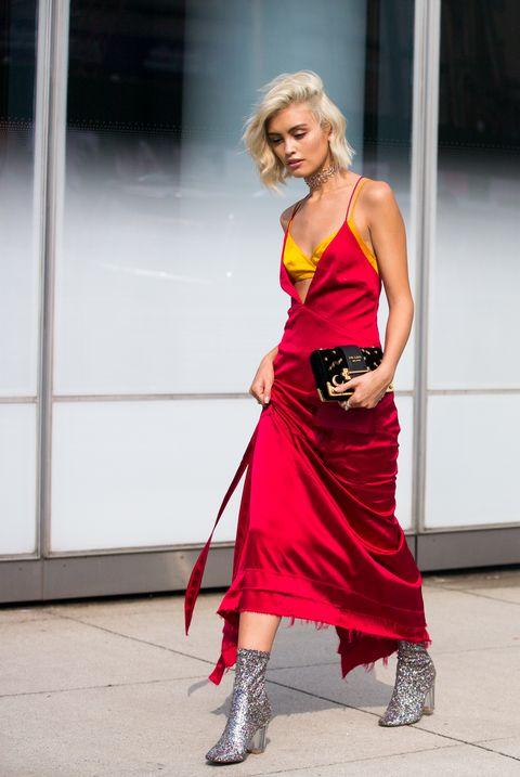 Red, Clothing, Dress, Fashion, Street fashion, Shoulder, Photography, Fun, Photo shoot, Fashion design,