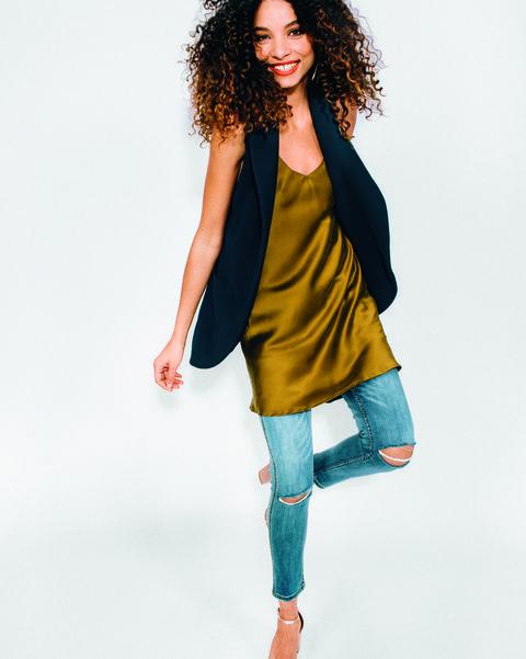 Slip dress over jeans