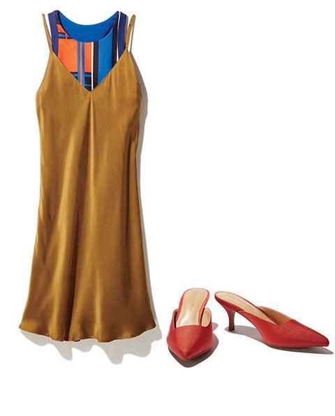 Slip dress sports bra heels