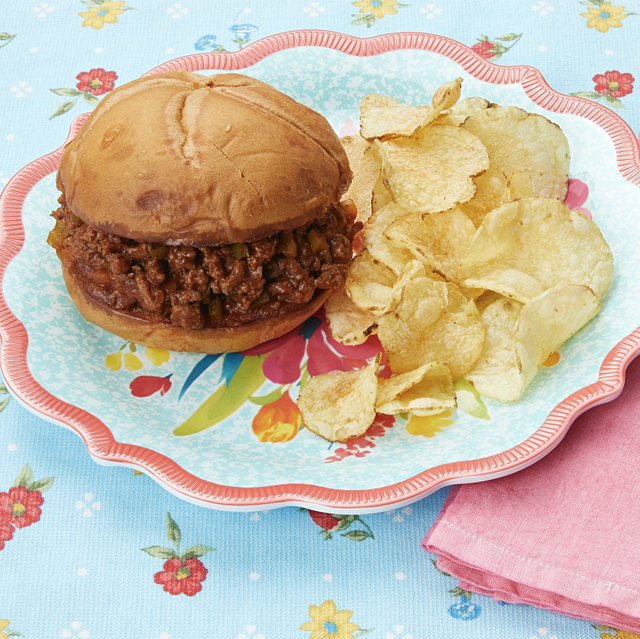 sloppy joes and chips on a plate