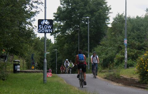 A cycle path.