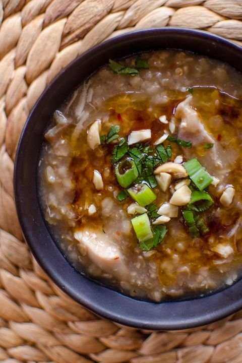 healthy slow-cooker soups: slow cooker brown rice chicken congee