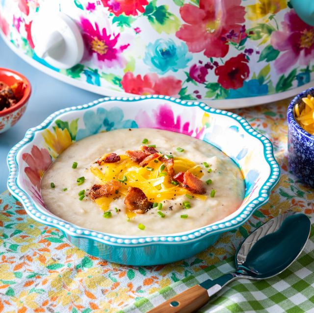slow cooker potato soup recipe with slow cooker in the background