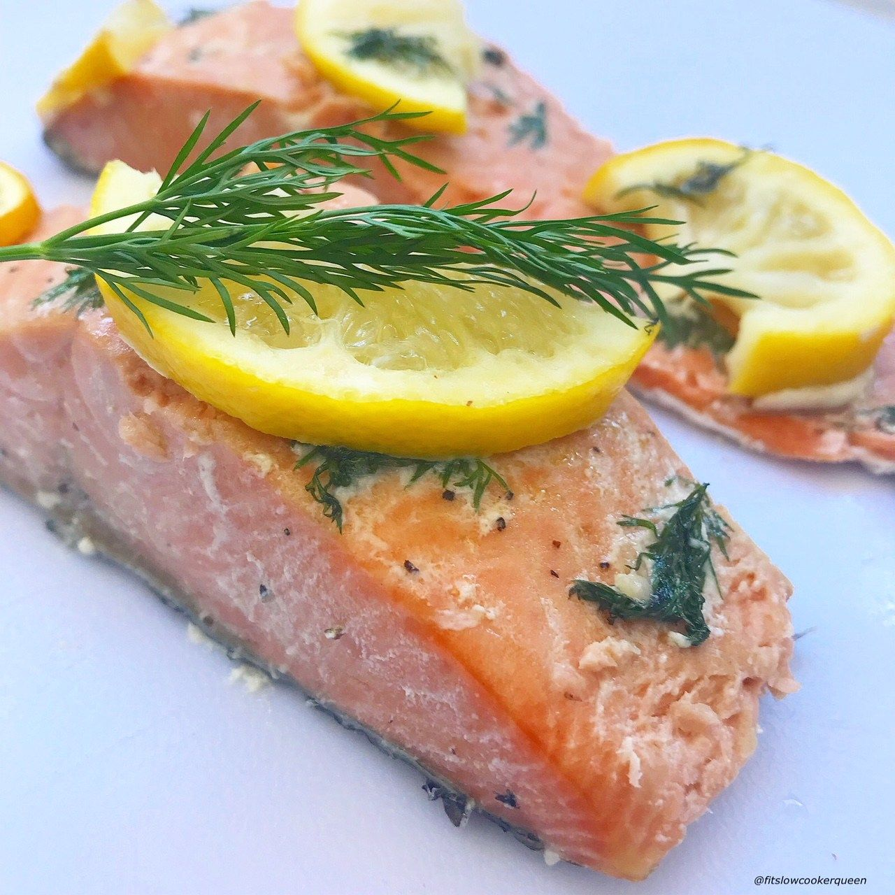 Slow Cooker Salmon with Lemon and Dill Low-carb, paleo, Whole-30, and totally tasty. And, get this, all you have to do is pop the protein, known for being a superb source of brain-boosting omega-3s , in the Crock Pot and let 'er cook.