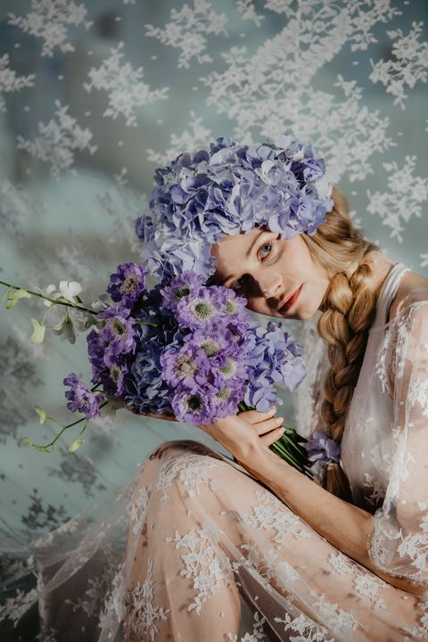 People in nature, Lavender, Purple, Lilac, Beauty, Flower, Violet, Daydream, Spring, Plant,