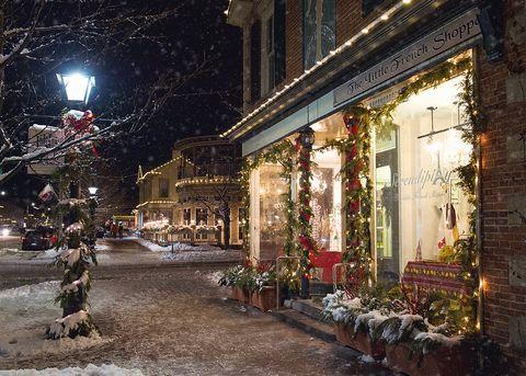 Snow, Night, Lighting, Winter, Town, Street light, Street, Urban area, Building, City,