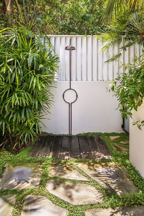 backyard with outdoor shower