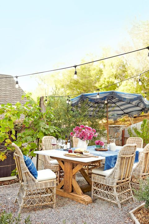 small backyard ideas   foldable umbrella patio