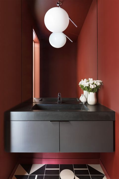 small red bathroom