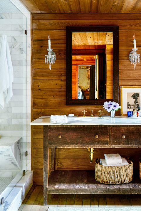 wood bathroom with marble shower