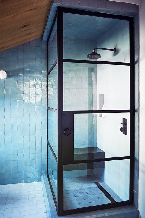 modern bathroom with blue zellige tiles
