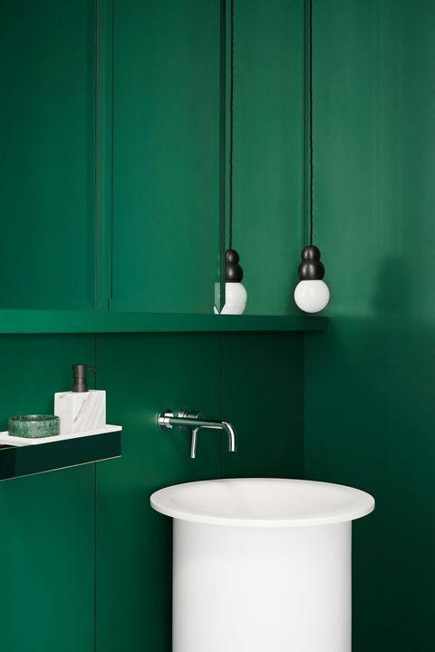 bright green powder room