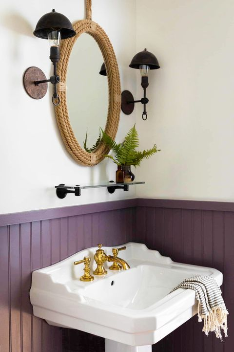 small bathroom with purple paint