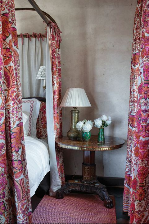 Curtain, Room, Interior design, Textile, Furniture, Window treatment, Pink, Bed, Architecture, Canopy bed,
