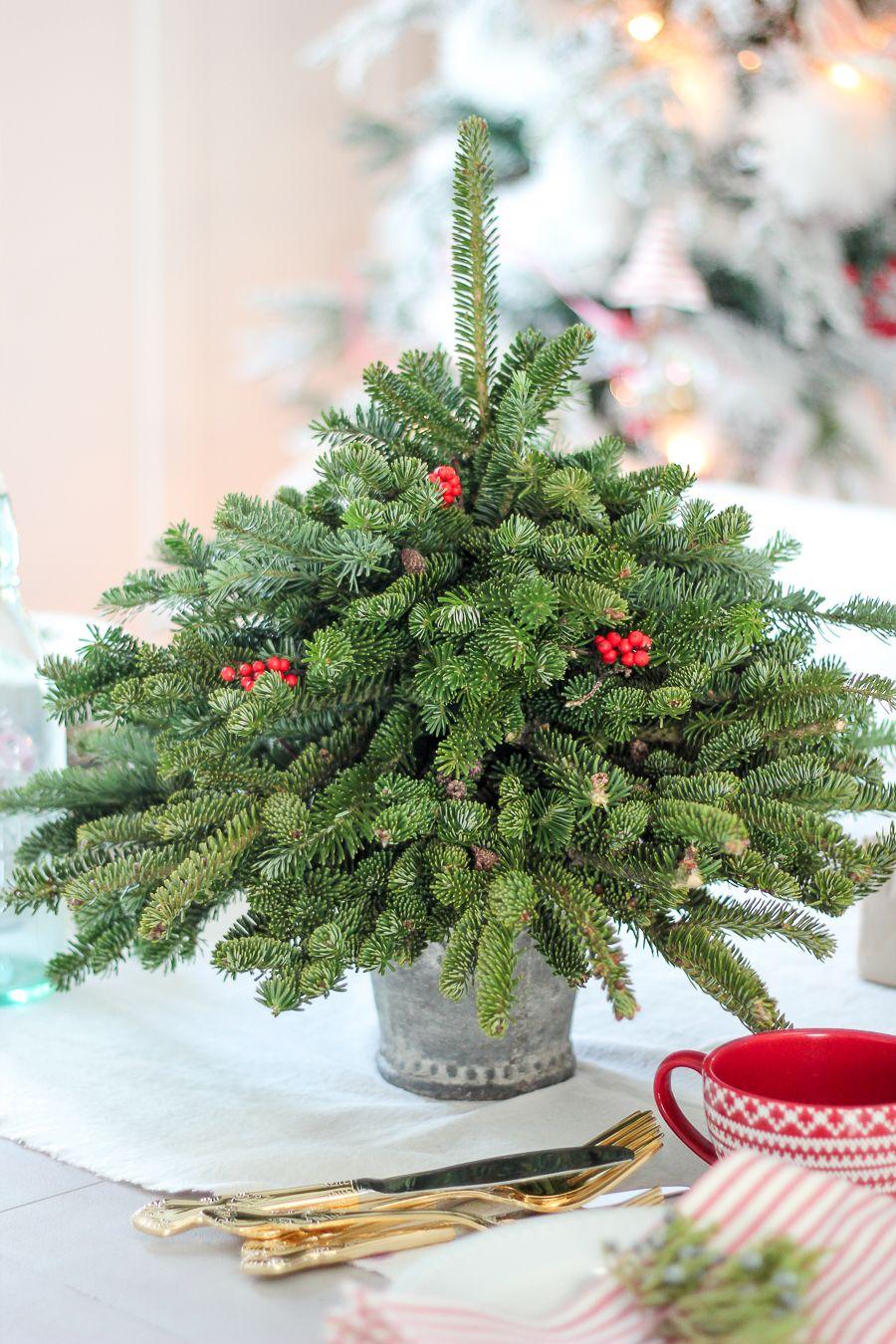 small christmas trees centerpiece