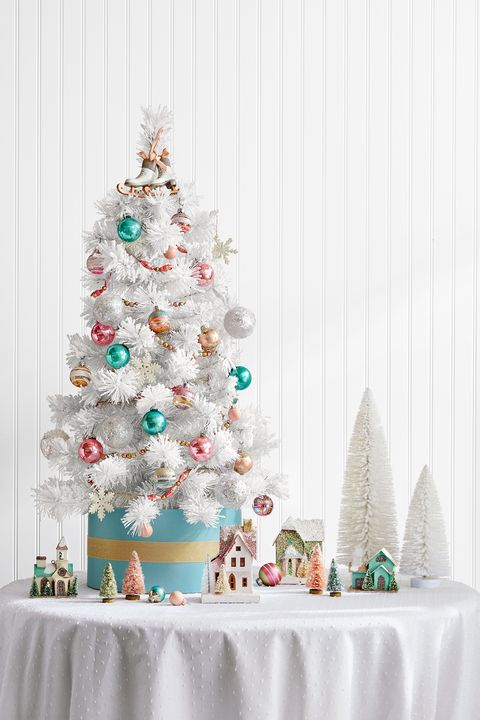decorated mini white christmas tree
