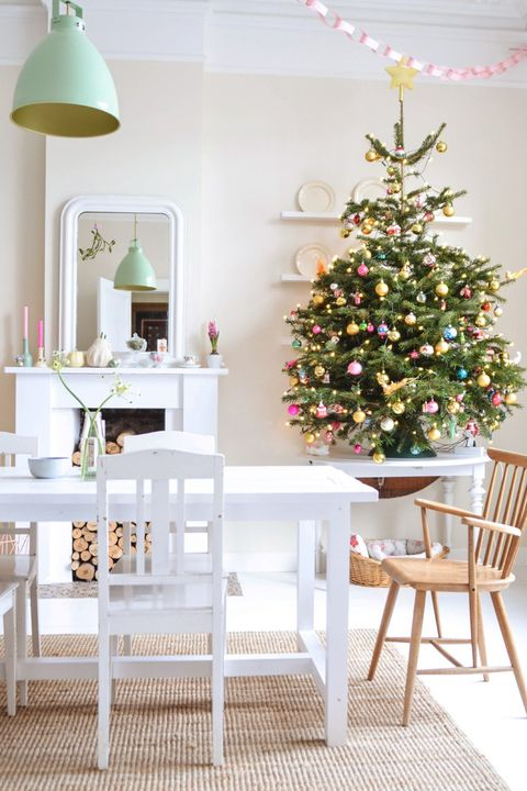 small christmas trees dining room