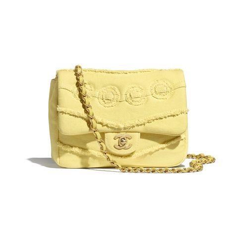chanel 檸檬黃牛仔布小型側背包