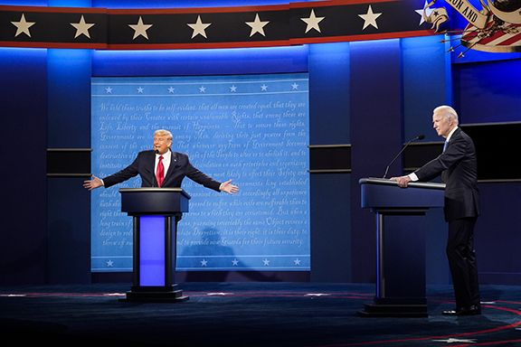 nashville, tn   october 22 president donald j trump and democratic presidential candidate joe biden participate in the final presidential debate on the campus of belmont university on thursday, oct 22, 2020 in nashville, tn photo by jabin botsfordthe washington post via getty images