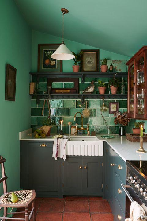 Petite cuisine verte, maison de fermier dans le comté de Durham