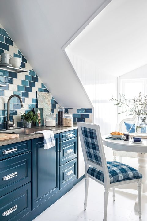 small blue and white kitchen