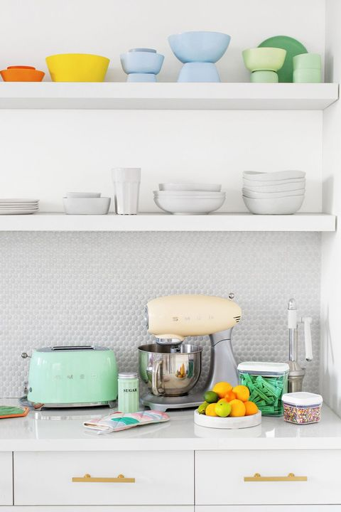 small kitchen ideas  color coordinated kitchen shelves