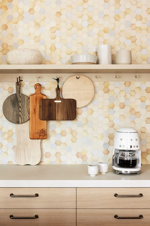 kitchen with hexagon tile backsplash designed by abby hetherington interiors