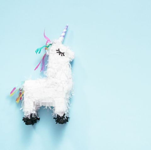 Small unicorn pinata for kids birthday party.