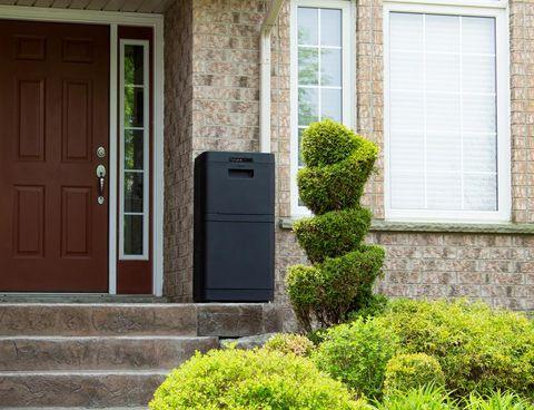danby parcel gard smart mailbox on front steps
