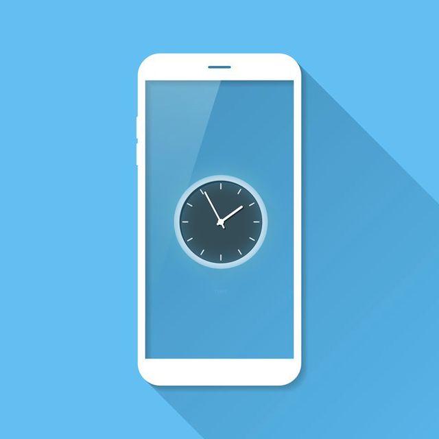 clock on a smartphone screen