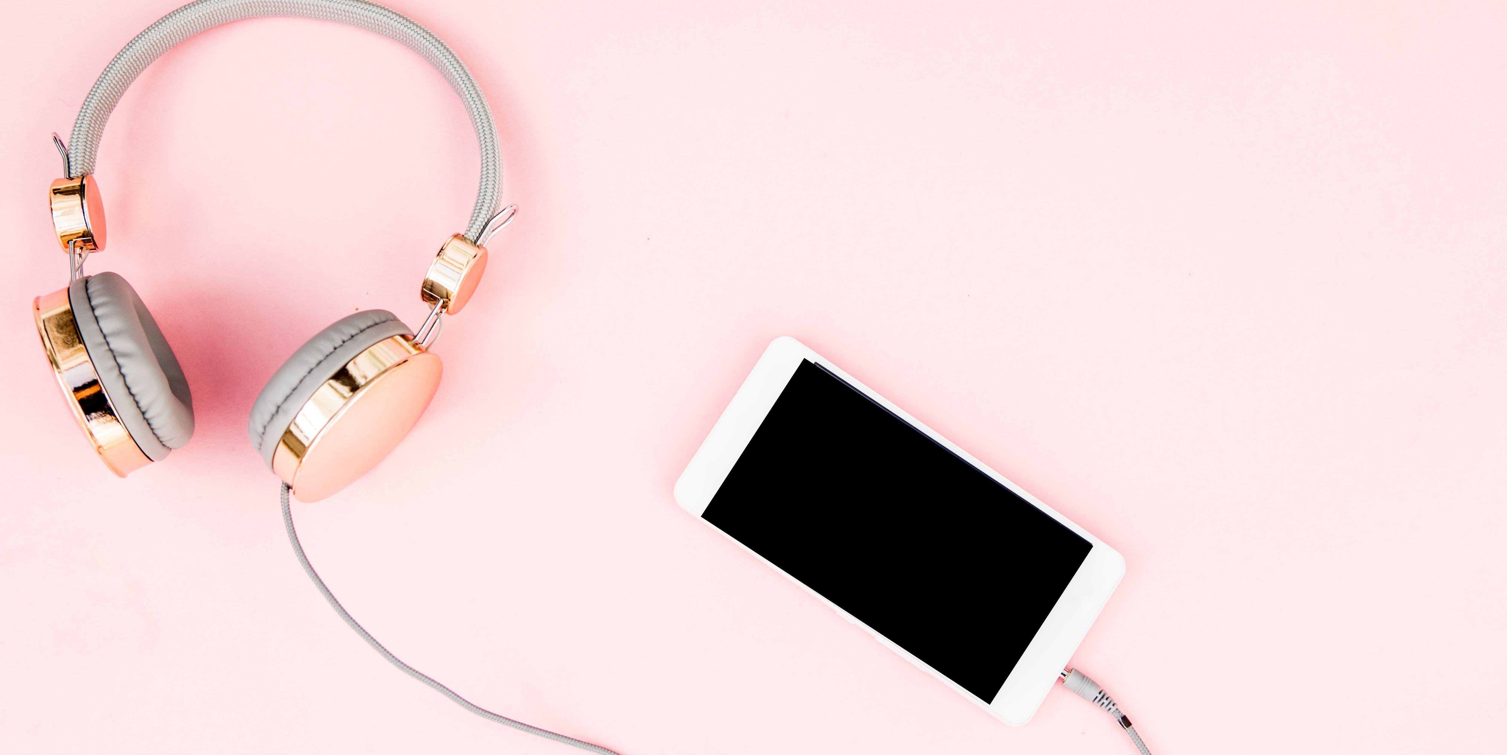 smartphone and headphones