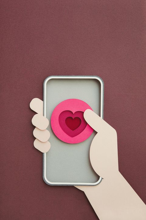 smartphone with heart shape on screen