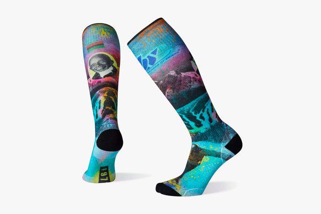 a colorful ski sock
