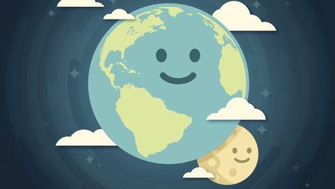 Getekende aarde en maan lachen je toe