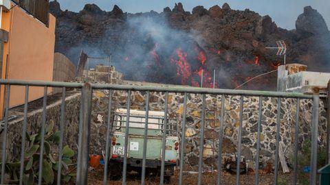 land rover pasto de la lava, volcanes en erupción de la palma