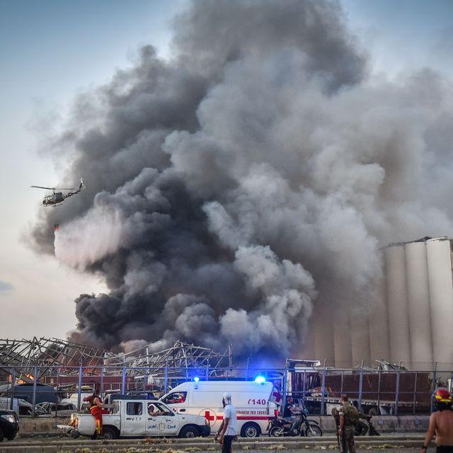 massive explosion near port area of beirut