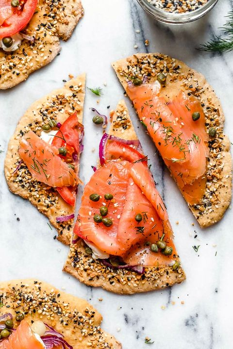 Dish, Cuisine, Food, Smoked salmon, Ingredient, Salmon, Fish, Finger food, Produce, Baked goods,