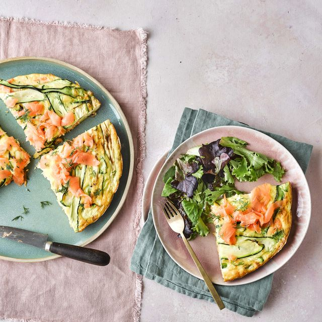 smoked salmon, courgette and dill frittata