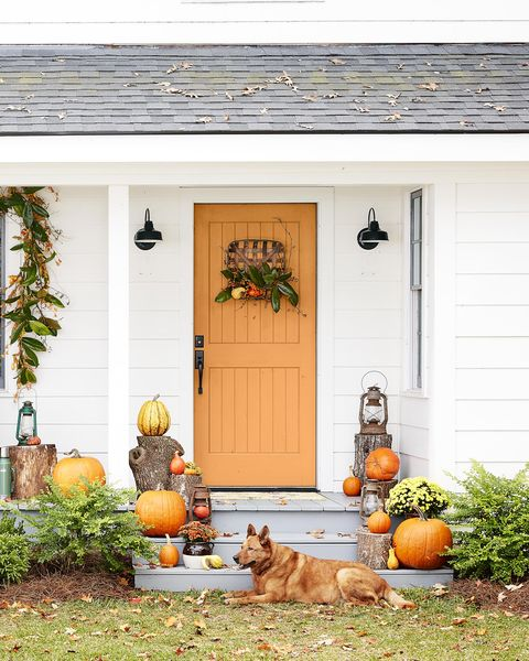 fall colors theme porch decor