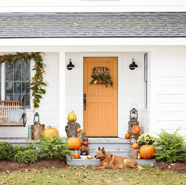 colorful fall porch and orange door