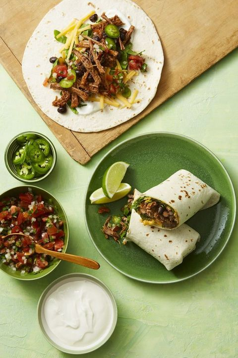 smoky shredded beef burritos