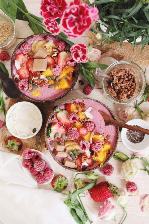 Food, Dish, Cuisine, Pink, Ingredient, Vegetarian food, Petal, Meal, Brunch, Produce,