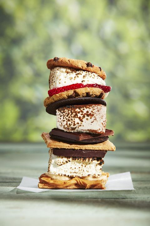a stack of s'mores shown three ways