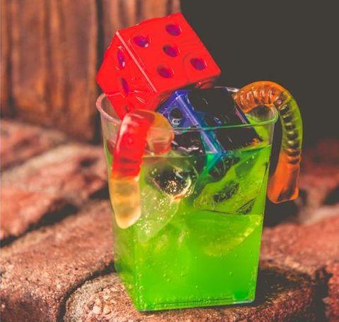 Drink, Zombie, Cocktail garnish, Glass, Non-alcoholic beverage, Distilled beverage,